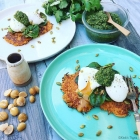 Sweet Potato Rostis, Baby Chard, Poached Eggs, Coriander Pesto & Toasted Pepitas