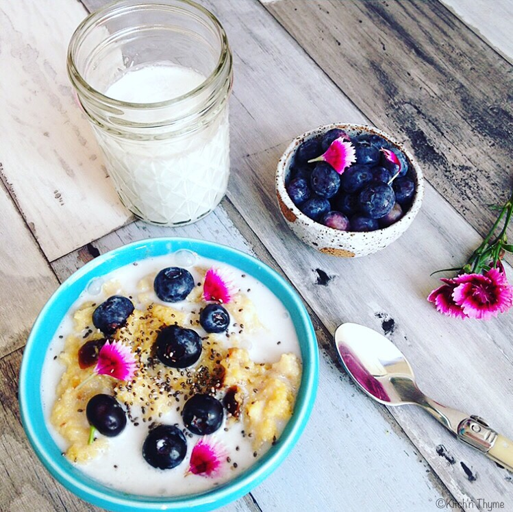5 Minute Coconut Date & Blueberry Polenta